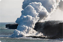 Hawaiian lava hitting sea