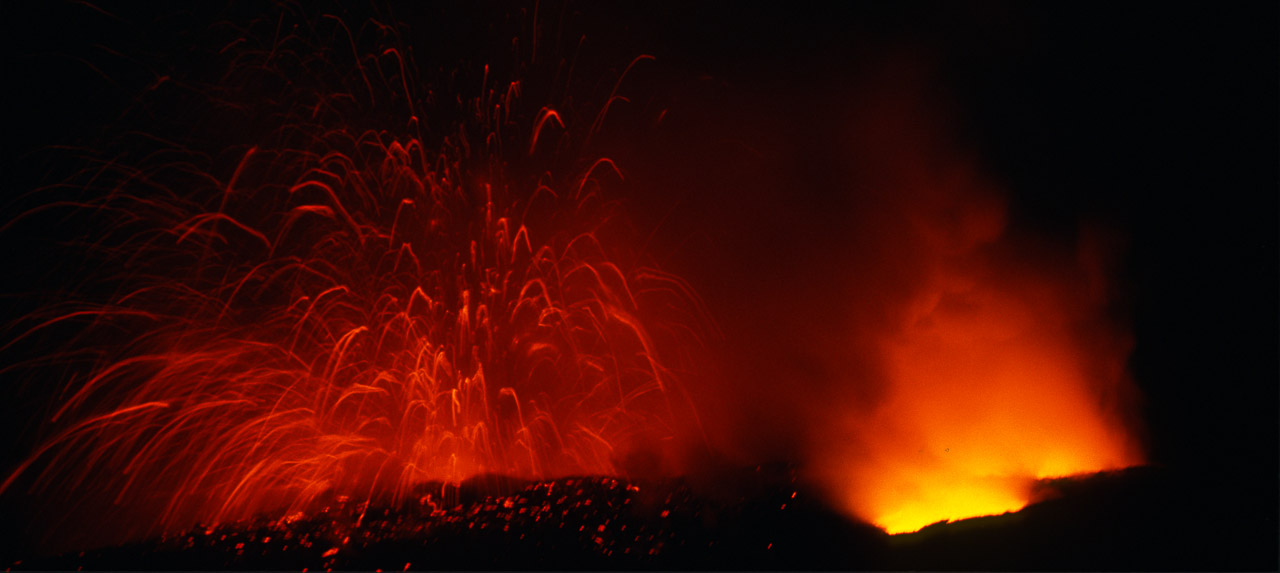 Lava exploding in sea at Hawaii volcano